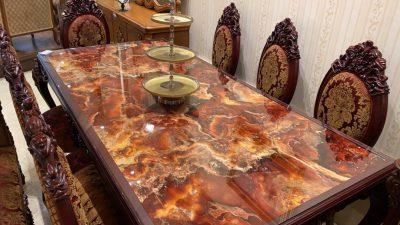 میز نهارخوری طرح سنگ با محصولات پرشین استونیت